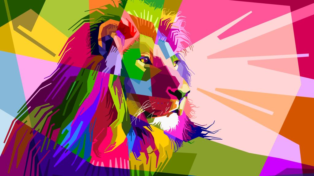 カラフルなライオンの画像