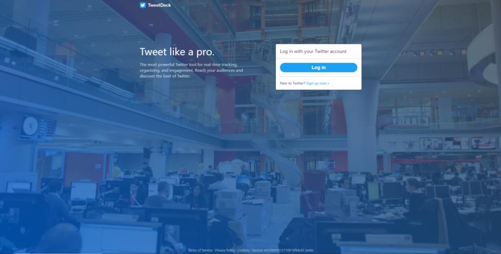 TweetDeckログイン画面