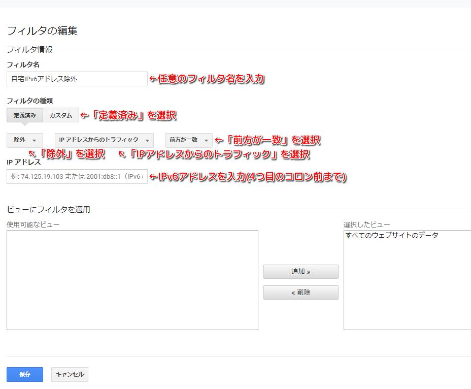 IPv6アドレス除外例
